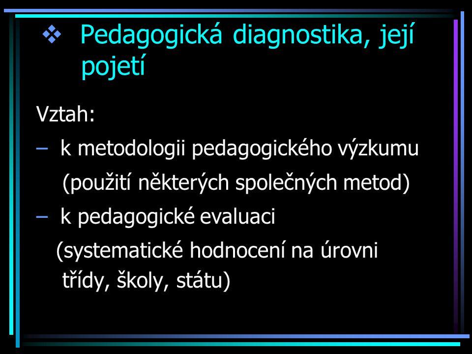  Pedagogická diagnostika, její pojetí Vztah: – k metodologii pedagogického výzkumu (použití některých společných metod) – k pedagogické evaluaci (systematické hodnocení na úrovni třídy, školy, státu)