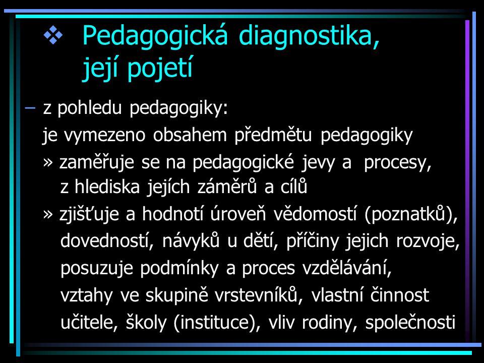  Pedagogická diagnostika, její pojetí –z pohledu pedagogiky: je vymezeno obsahem předmětu pedagogiky » zaměřuje se na pedagogické jevy a procesy, z hlediska jejích záměrů a cílů » zjišťuje a hodnotí úroveň vědomostí (poznatků), dovedností, návyků u dětí, příčiny jejich rozvoje, posuzuje podmínky a proces vzdělávání, vztahy ve skupině vrstevníků, vlastní činnost učitele, školy (instituce), vliv rodiny, společnosti