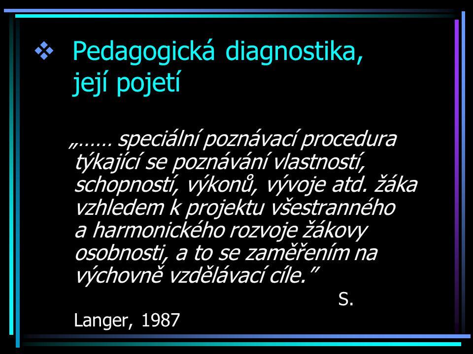 """ Pedagogická diagnostika, její pojetí """"…… speciální poznávací procedura týkající se poznávání vlastností, schopností, výkonů, vývoje atd."""