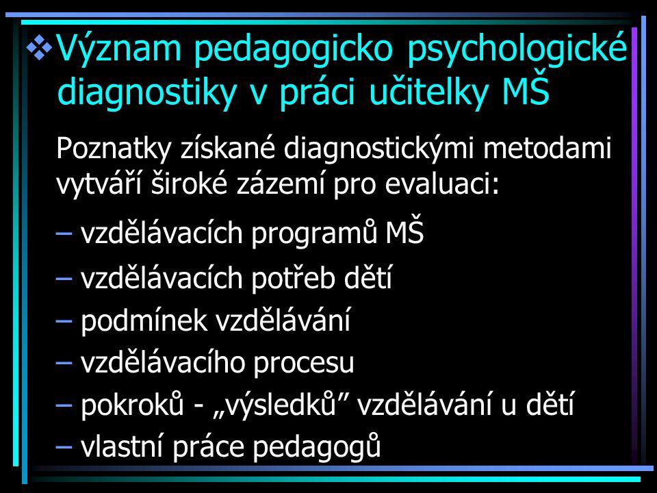 """ Význam pedagogicko psychologické diagnostiky v práci učitelky MŠ Poznatky získané diagnostickými metodami vytváří široké zázemí pro evaluaci: –vzdělávacích programů MŠ –vzdělávacích potřeb dětí –podmínek vzdělávání –vzdělávacího procesu –pokroků - """"výsledků vzdělávání u dětí –vlastní práce pedagogů"""