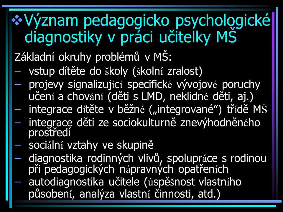 """ Význam pedagogicko psychologické diagnostiky v práci učitelky MŠ Základní okruhy problémů v MŠ: – vstup dítěte do š koly ( š koln í zralost) – projevy signalizuj í c í specifick é vývojov é poruchy učen í a chov á n í (děti s LMD, neklidn é děti, aj.) – integrace d í těte v běžn é (""""integrované ) tř í dě M Š – integrace děti ze sociokulturně znevýhodněn é ho prostředí – soci á ln í vztahy ve skupině – diagnostika rodinných vlivů, spolupr á ce s rodinou při pedagogických n á pravných opatřen í ch – autodiagnostika učitele ( ú spě š nost vlastn í ho působen í, analýza vlastn í činnosti, atd.)"""