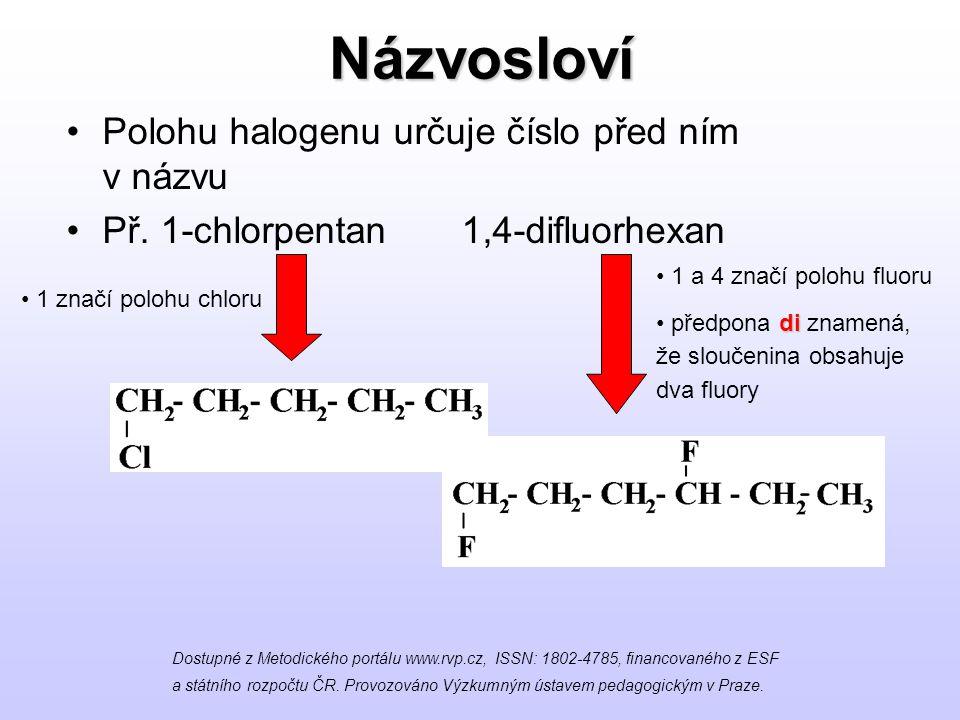 Názvosloví Polohu halogenu určuje číslo před ním v názvu Př. 1-chlorpentan 1,4-difluorhexan Dostupné z Metodického portálu www.rvp.cz, ISSN: 1802-4785