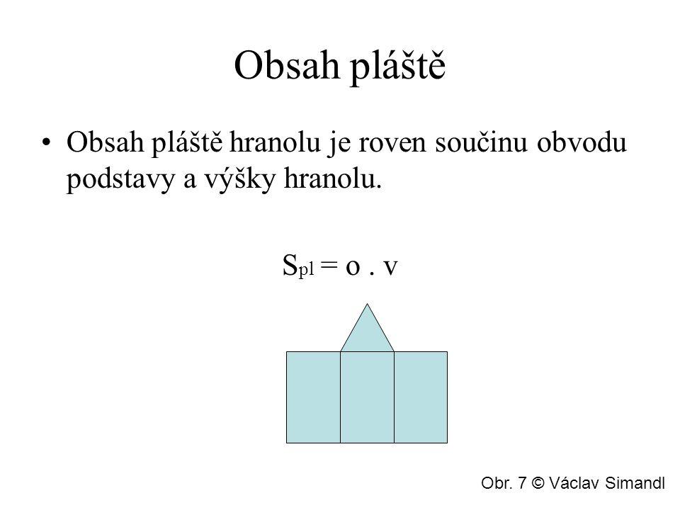 Obsah pláště Obsah pláště hranolu je roven součinu obvodu podstavy a výšky hranolu. S pl = o. v Obr. 7 © Václav Simandl