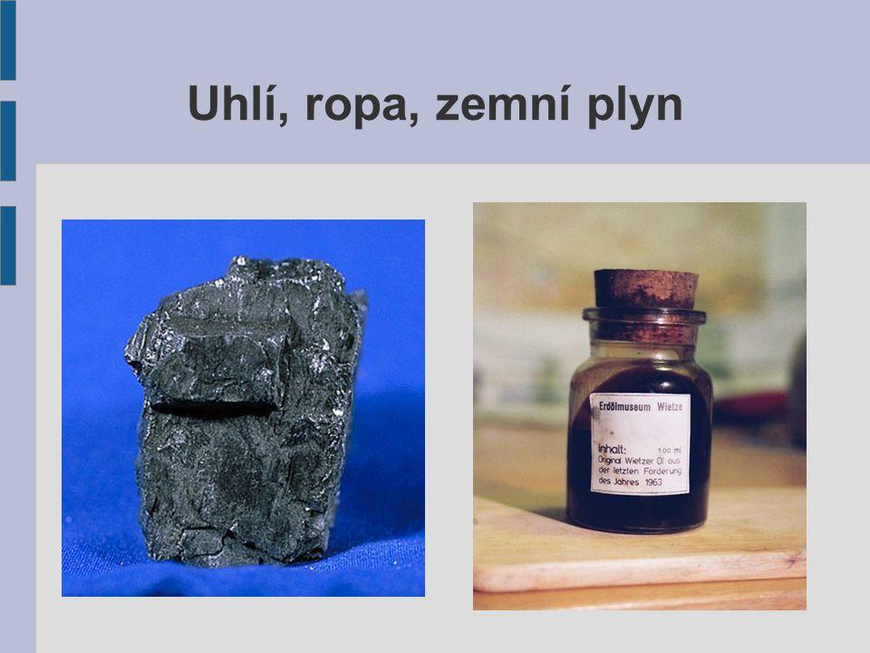 Uhlí Hořlavá hornina Vnikalo v průběhu miliónů let z přírodních látek Obsahuje především: uhlík, vodík, dusík, síru Existují dva druhy: Hnědé uhlí – mladší, méně kvalitní Černé uhlí – starší, kvalitnější, je ho méně Tepelná elektrárna Koksárna