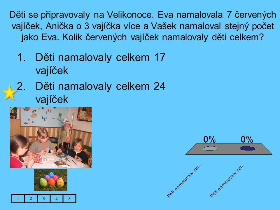 Děti se připravovaly na Velikonoce. Eva namalovala 7 červených vajíček, Anička o 3 vajíčka více a Vašek namaloval stejný počet jako Eva. Kolik červený