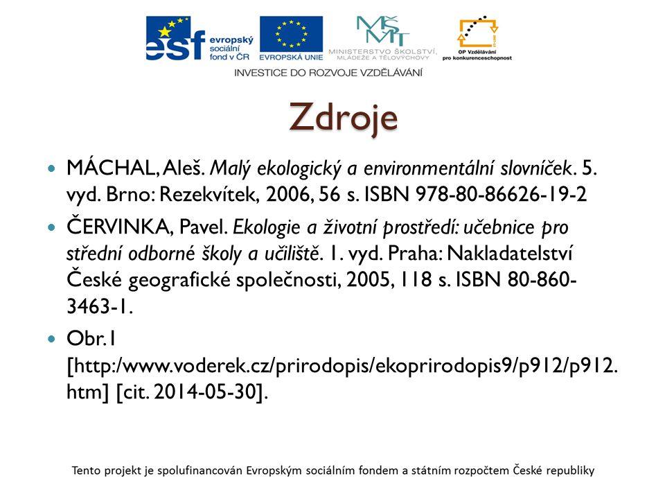 Zdroje MÁCHAL, Aleš. Malý ekologický a environmentální slovníček. 5. vyd. Brno: Rezekvítek, 2006, 56 s. ISBN 978-80-86626-19-2 ČERVINKA, Pavel. Ekolog
