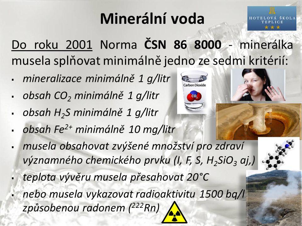 Minerální voda Do roku 2001 Norma ČSN 86 8000 - minerálka musela splňovat minimálně jedno ze sedmi kritérií:  mineralizace minimálně 1 g/litr  obsah CO 2 minimálně 1 g/litr  obsah H 2 S minimálně 1 g/litr  obsah Fe 2+ minimálně 10 mg/litr  musela obsahovat zvýšené množství pro zdraví významného chemického prvku (I, F, S, H 2 SiO 3 aj,)  teplota vývěru musela přesahovat 20°C  nebo musela vykazovat radioaktivitu 1500 bq/l způsobenou radonem ( 222 Rn)