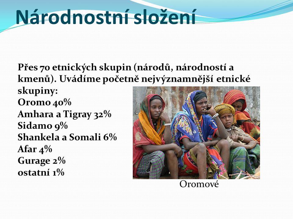 Národnostní složení Přes 70 etnických skupin (národů, národností a kmenů). Uvádíme početně nejvýznamnější etnické skupiny: Oromo 40% Amhara a Tigray 3