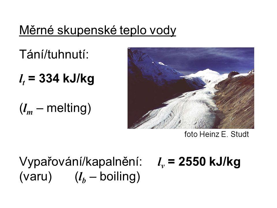 Měrné skupenské teplo vody Tání/tuhnutí: l t = 334 kJ/kg ( l m – melting) foto Heinz E. Studt Vypařování/kapalnění: l v = 2550 kJ/kg (varu)( l b – boi