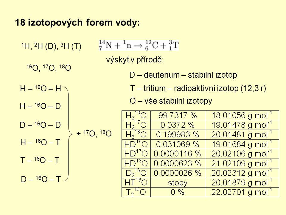 18 izotopových forem vody: 1 H, 2 H (D), 3 H (T) 16 O, 17 O, 18 O H – 16 O – H H – 16 O – D D – 16 O – D H – 16 O – T T – 16 O – T D – 16 O – T + 17 O