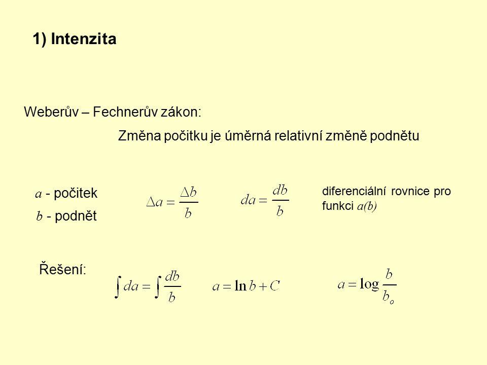 1) Intenzita Weberův – Fechnerův zákon: Změna počitku je úměrná relativní změně podnětu a - počitek b - podnět diferenciální rovnice pro funkci a(b) Ř