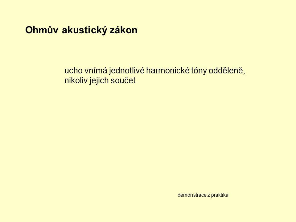 Ohmův akustický zákon demonstrace z praktika ucho vnímá jednotlivé harmonické tóny odděleně, nikoliv jejich součet