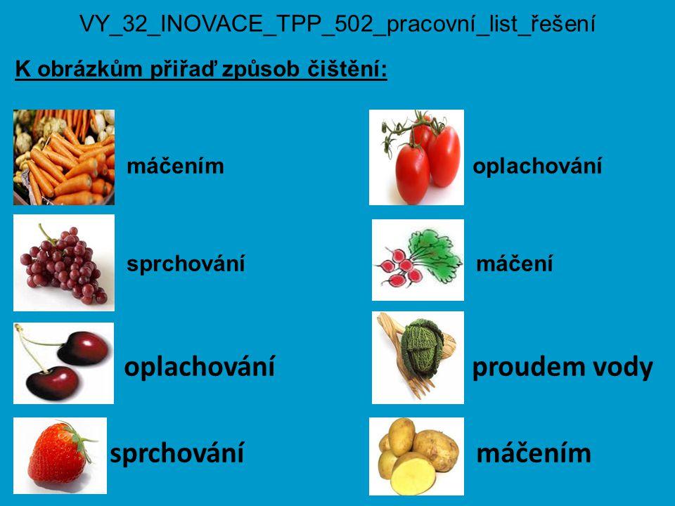 VY_32_INOVACE_TPP_502_pracovní_list_řešení K obrázkům přiřaď způsob čištění: máčením oplachování sprchování máčení oplachování proudem vody sprchování máčením