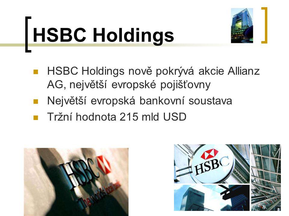 HSBC Holdings HSBC Holdings nově pokrývá akcie Allianz AG, největší evropské pojišťovny Největší evropská bankovní soustava Tržní hodnota 215 mld USD