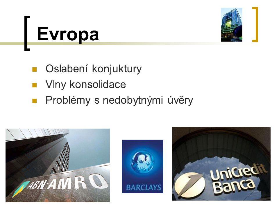 Evropa Oslabení konjuktury Vlny konsolidace Problémy s nedobytnými úvěry