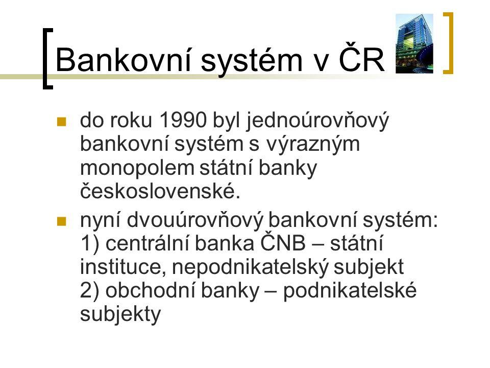 Bankovní systém v ČR do roku 1990 byl jednoúrovňový bankovní systém s výrazným monopolem státní banky československé. nyní dvouúrovňový bankovní systé