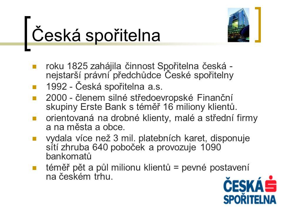 Česká spořitelna roku 1825 zahájila činnost Spořitelna česká - nejstarší právní předchůdce České spořitelny 1992 - Česká spořitelna a.s. 2000 - členem