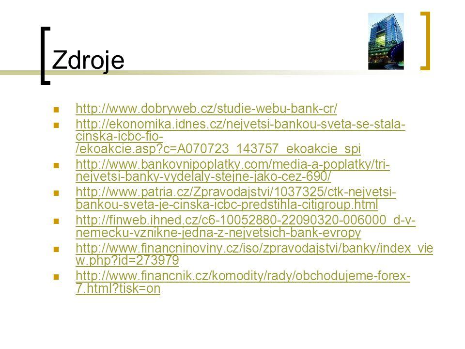 Zdroje http://www.dobryweb.cz/studie-webu-bank-cr/ http://ekonomika.idnes.cz/nejvetsi-bankou-sveta-se-stala- cinska-icbc-fio- /ekoakcie.asp?c=A070723_143757_ekoakcie_spi http://ekonomika.idnes.cz/nejvetsi-bankou-sveta-se-stala- cinska-icbc-fio- /ekoakcie.asp?c=A070723_143757_ekoakcie_spi http://www.bankovnipoplatky.com/media-a-poplatky/tri- nejvetsi-banky-vydelaly-stejne-jako-cez-690/ http://www.bankovnipoplatky.com/media-a-poplatky/tri- nejvetsi-banky-vydelaly-stejne-jako-cez-690/ http://www.patria.cz/Zpravodajstvi/1037325/ctk-nejvetsi- bankou-sveta-je-cinska-icbc-predstihla-citigroup.html http://www.patria.cz/Zpravodajstvi/1037325/ctk-nejvetsi- bankou-sveta-je-cinska-icbc-predstihla-citigroup.html http://finweb.ihned.cz/c6-10052880-22090320-006000_d-v- nemecku-vznikne-jedna-z-nejvetsich-bank-evropy http://finweb.ihned.cz/c6-10052880-22090320-006000_d-v- nemecku-vznikne-jedna-z-nejvetsich-bank-evropy http://www.financninoviny.cz/iso/zpravodajstvi/banky/index_vie w.php?id=273979 http://www.financninoviny.cz/iso/zpravodajstvi/banky/index_vie w.php?id=273979 http://www.financnik.cz/komodity/rady/obchodujeme-forex- 7.html?tisk=on http://www.financnik.cz/komodity/rady/obchodujeme-forex- 7.html?tisk=on