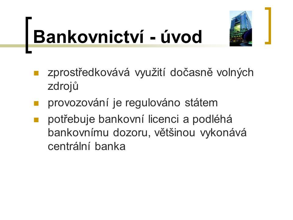 Bankovnictví - úvod zprostředkovává využití dočasně volných zdrojů provozování je regulováno státem potřebuje bankovní licenci a podléhá bankovnímu do