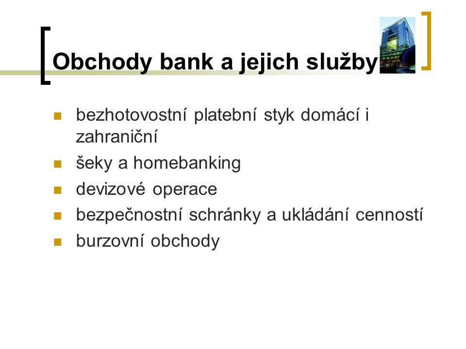 Obchody bank a jejich služby bezhotovostní platební styk domácí i zahraniční šeky a homebanking devizové operace bezpečnostní schránky a ukládání cenn