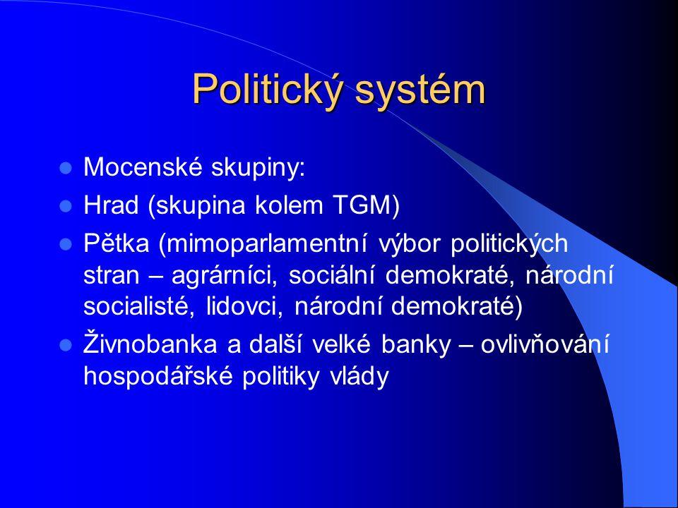 Politický systém Mocenské skupiny: Hrad (skupina kolem TGM) Pětka (mimoparlamentní výbor politických stran – agrárníci, sociální demokraté, národní so