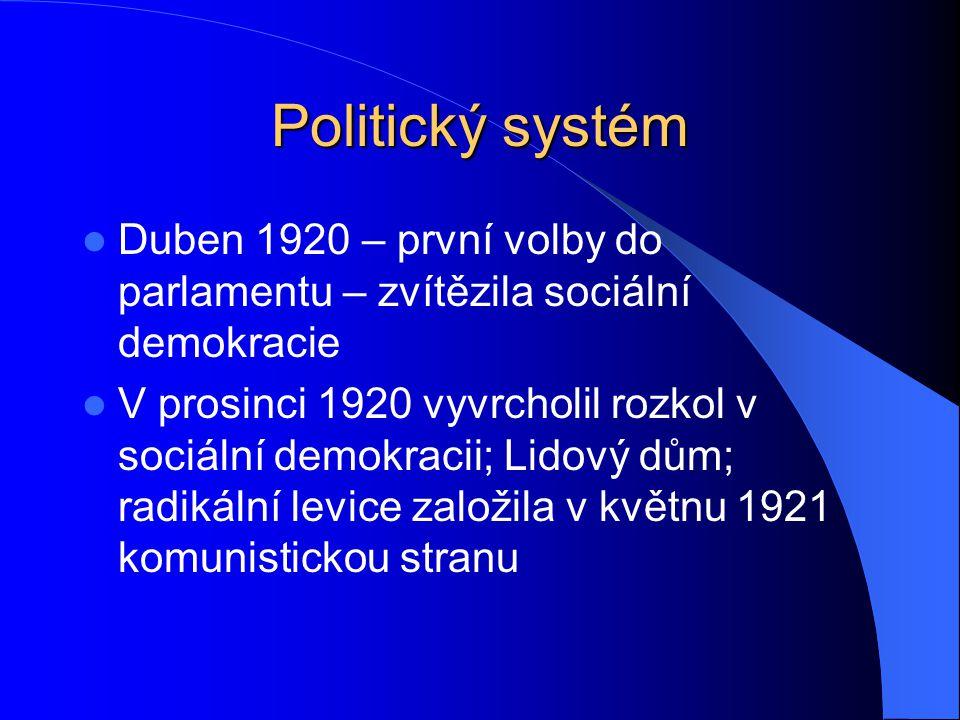 Politický systém Duben 1920 – první volby do parlamentu – zvítězila sociální demokracie V prosinci 1920 vyvrcholil rozkol v sociální demokracii; Lidov