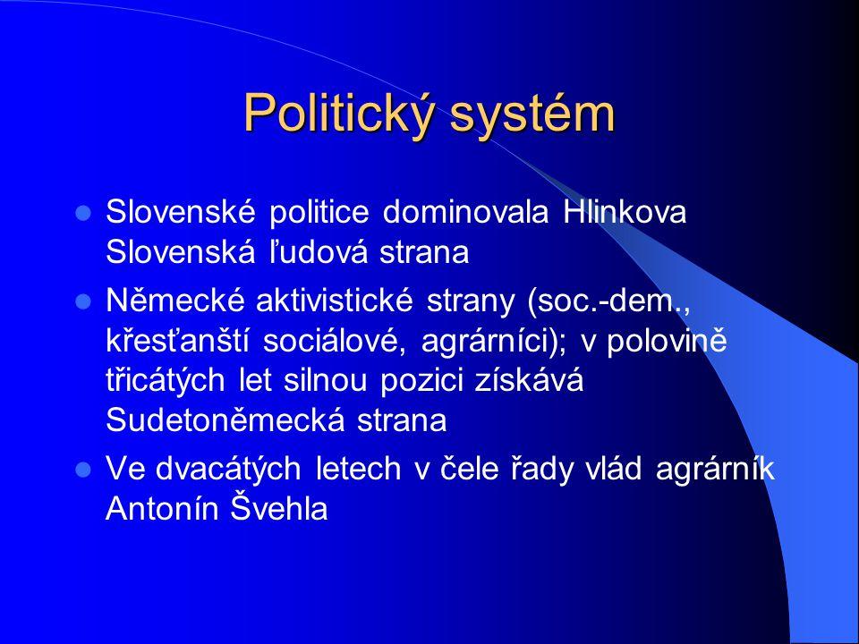 Politický systém Slovenské politice dominovala Hlinkova Slovenská ľudová strana Německé aktivistické strany (soc.-dem., křesťanští sociálové, agrárníc