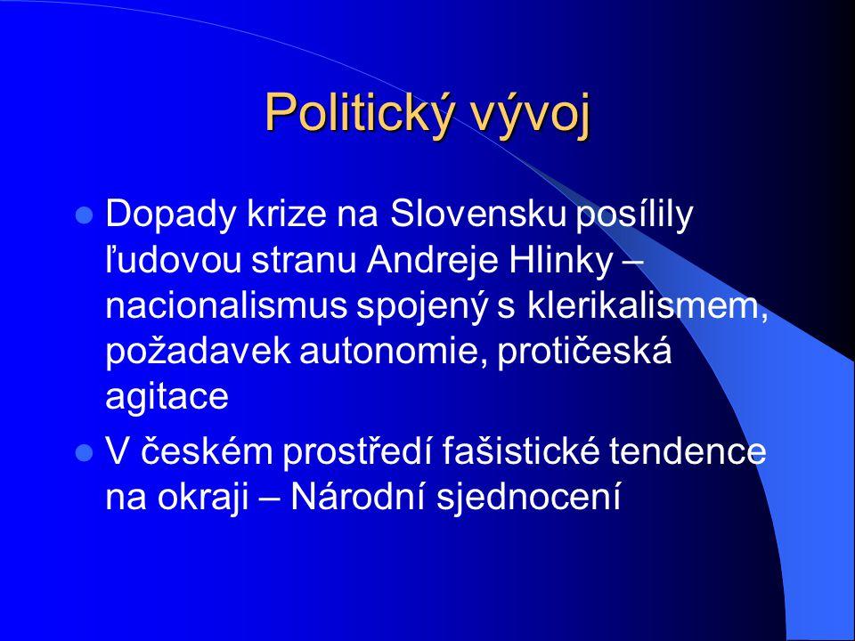 Politický vývoj Dopady krize na Slovensku posílily ľudovou stranu Andreje Hlinky – nacionalismus spojený s klerikalismem, požadavek autonomie, protiče