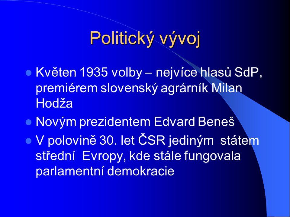 Politický vývoj Květen 1935 volby – nejvíce hlasů SdP, premiérem slovenský agrárník Milan Hodža Novým prezidentem Edvard Beneš V polovině 30. let ČSR
