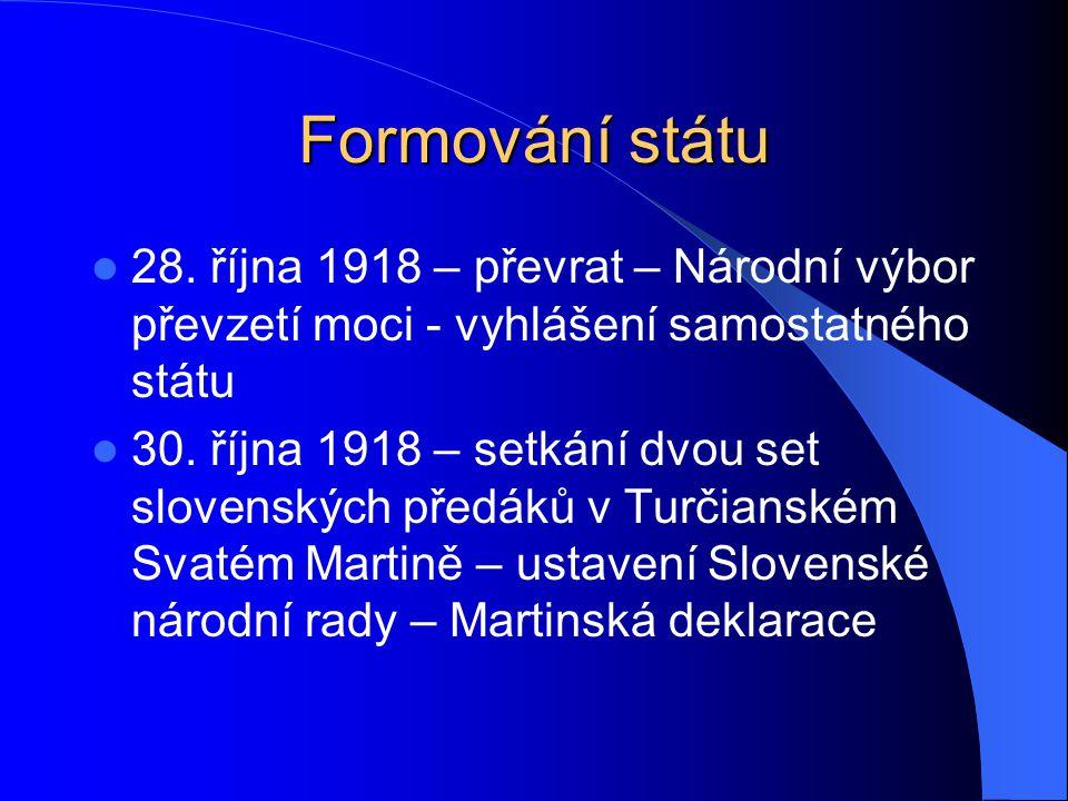 Formování státu 28. října 1918 – převrat – Národní výbor převzetí moci - vyhlášení samostatného státu 30. října 1918 – setkání dvou set slovenských př