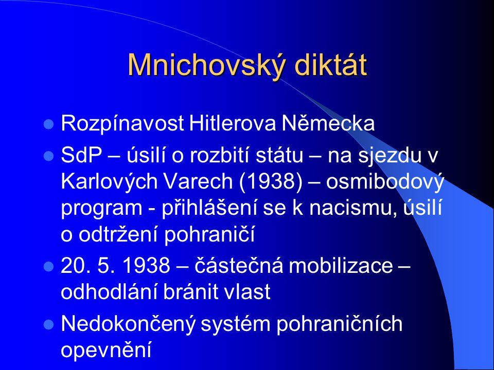 Mnichovský diktát Rozpínavost Hitlerova Německa SdP – úsilí o rozbití státu – na sjezdu v Karlových Varech (1938) – osmibodový program - přihlášení se