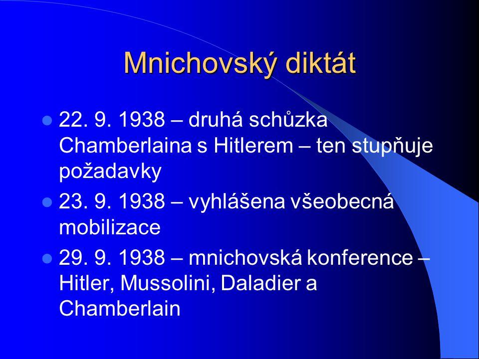 Mnichovský diktát 22. 9. 1938 – druhá schůzka Chamberlaina s Hitlerem – ten stupňuje požadavky 23. 9. 1938 – vyhlášena všeobecná mobilizace 29. 9. 193