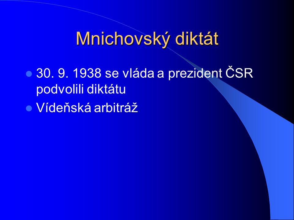 Mnichovský diktát 30. 9. 1938 se vláda a prezident ČSR podvolili diktátu Vídeňská arbitráž