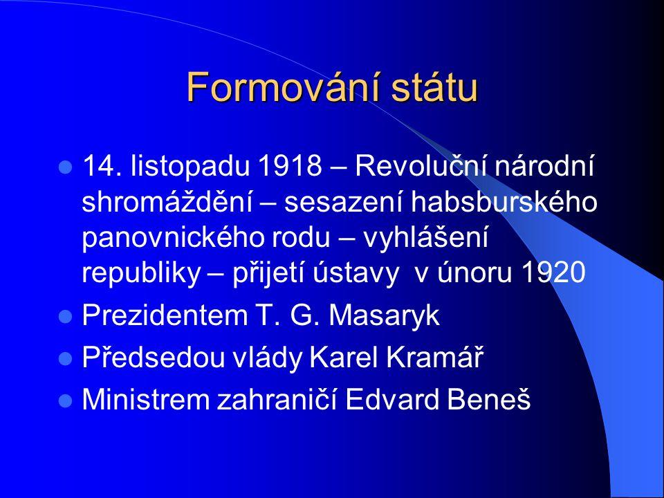 Formování státu 14. listopadu 1918 – Revoluční národní shromáždění – sesazení habsburského panovnického rodu – vyhlášení republiky – přijetí ústavy v