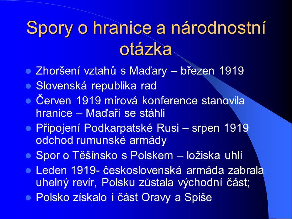 Spory o hranice a národnostní otázka Polsko získalo i část Oravy a Spiše Češi a Slováci 65,5%, Němci 23,4%,Maďaři 5,6%, Rusíni, Ukrajinci a Rusové 3,4%, Poláci 0,6%, Židé 1,3 % Koncepce čechoslovakismu