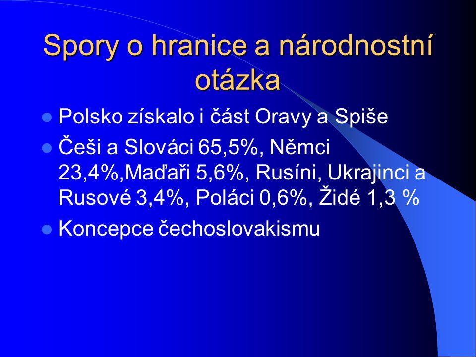 Spory o hranice a národnostní otázka Polsko získalo i část Oravy a Spiše Češi a Slováci 65,5%, Němci 23,4%,Maďaři 5,6%, Rusíni, Ukrajinci a Rusové 3,4