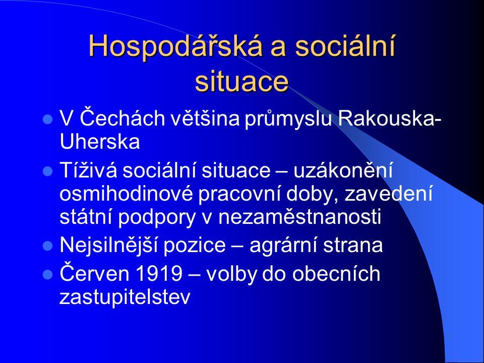 Hospodářská a sociální situace V Čechách většina průmyslu Rakouska- Uherska Tíživá sociální situace – uzákonění osmihodinové pracovní doby, zavedení s