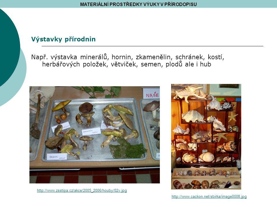 MATERIÁLNÍ PROSTŘEDKY VÝUKY V PŘÍRODOPISU http://www.cackon.net/sbirka/image0008.jpg http://www.zsstipa.cz/akce/2005_2006/houby/02v.jpg Výstavky příro