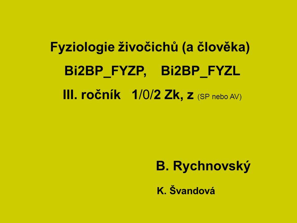Fyziologie živočichů (a člověka) Bi2BP_FYZP, Bi2BP_FYZL III. ročník 1/0/2 Zk, z (SP nebo AV) B. Rychnovský K. Švandová
