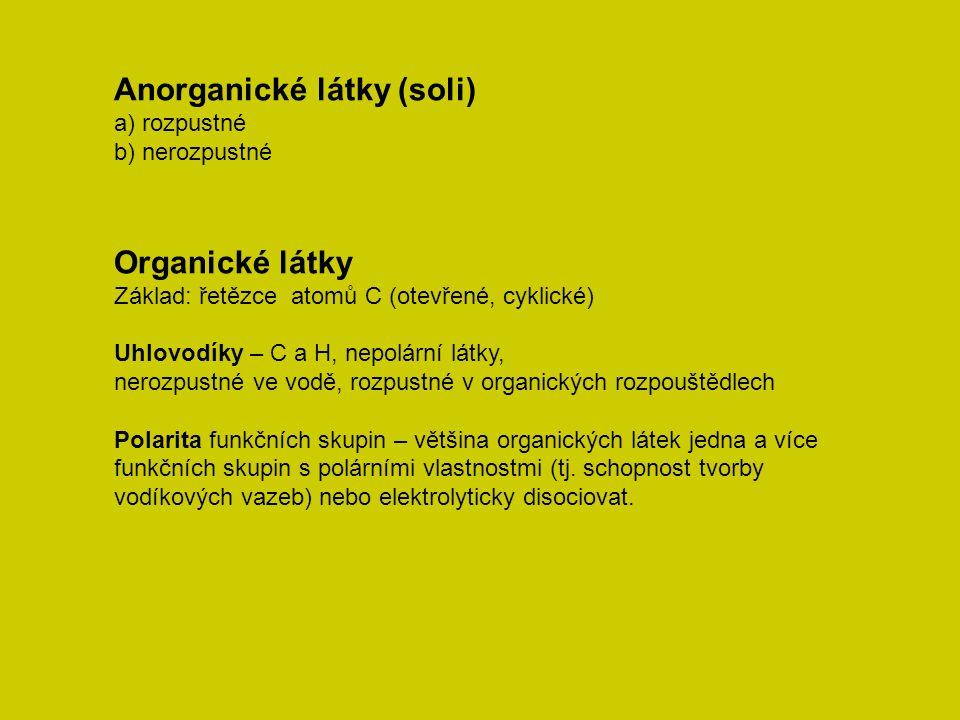 Anorganické látky (soli) a) rozpustné b) nerozpustné Organické látky Základ: řetězce atomů C (otevřené, cyklické) Uhlovodíky – C a H, nepolární látky,