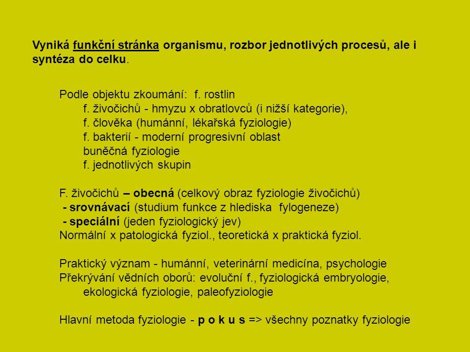 Vyniká funkční stránka organismu, rozbor jednotlivých procesů, ale i syntéza do celku. Podle objektu zkoumání: f. rostlin f. živočichů - hmyzu x obrat