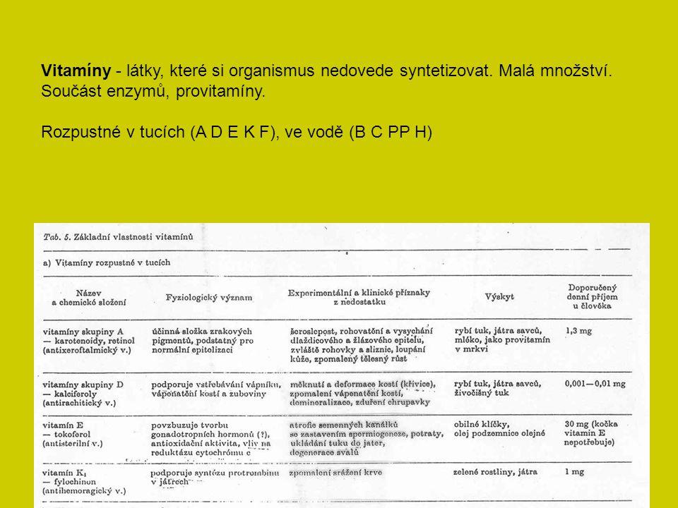 Vitamíny - látky, které si organismus nedovede syntetizovat. Malá množství. Součást enzymů, provitamíny. Rozpustné v tucích (A D E K F), ve vodě (B C