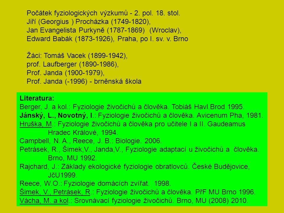 Počátek fyziologických výzkumů - 2. pol. 18. stol. Jiří (Georgius ) Procházka (1749-1820), Jan Evangelista Purkyně (1787-1869) (Wroclav), Edward Babák