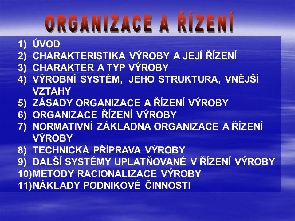 1)ÚVOD 2)CHARAKTERISTIKA VÝROBY A JEJÍ ŘÍZENÍ 3)CHARAKTER A TYP VÝROBY 4)VÝROBNÍ SYSTÉM, JEHO STRUKTURA, VNĚJŠÍ VZTAHY 5)ZÁSADY ORGANIZACE A ŘÍZENÍ VÝROBY 6)ORGANIZACE ŘÍZENÍ VÝROBY 7)NORMATIVNÍ ZÁKLADNA ORGANIZACE A ŘÍZENÍ VÝROBY 8)TECHNICKÁ PŘÍPRAVA VÝROBY 9)DALŠÍ SYSTÉMY UPLATŇOVANÉ V ŘÍZENÍ VÝROBY 10)METODY RACIONALIZACE VÝROBY 11)NÁKLADY PODNIKOVÉ ČINNOSTI