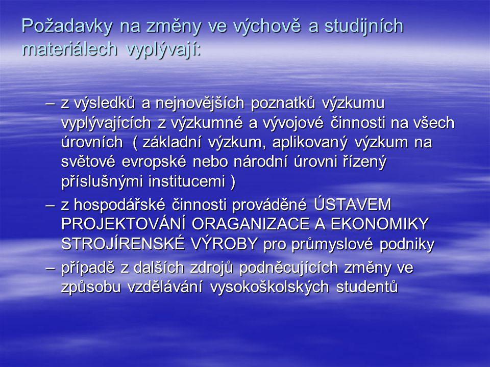 Požadavky na změny ve výchově a studijních materiálech vyplývají: –z výsledků a nejnovějších poznatků výzkumu vyplývajících z výzkumné a vývojové činnosti na všech úrovních ( základní výzkum, aplikovaný výzkum na světové evropské nebo národní úrovni řízený příslušnými institucemi ) –z hospodářské činnosti prováděné ÚSTAVEM PROJEKTOVÁNÍ ORAGANIZACE A EKONOMIKY STROJÍRENSKÉ VÝROBY pro průmyslové podniky –případě z dalších zdrojů podněcujících změny ve způsobu vzdělávání vysokoškolských studentů