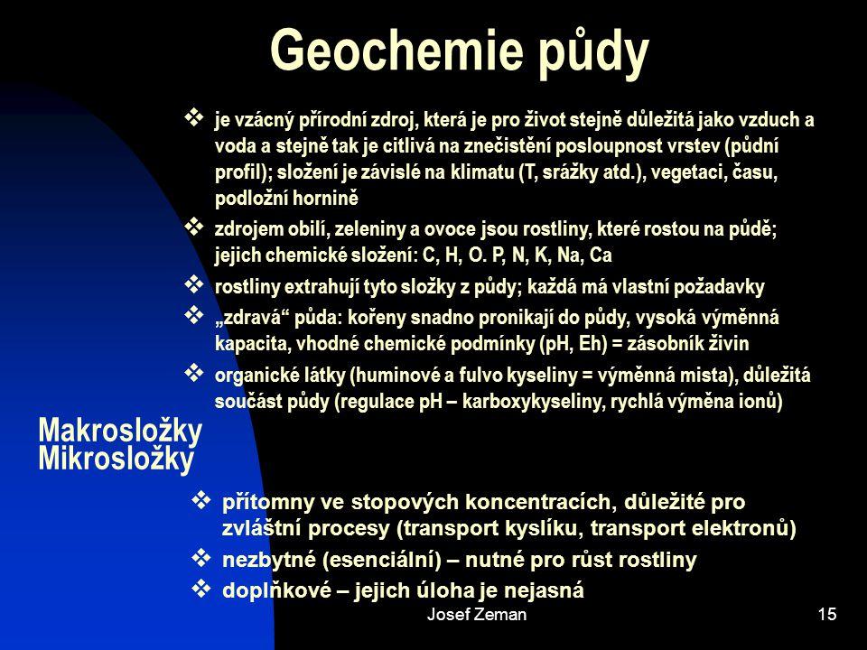Josef Zeman15 Geochemie půdy Makrosložky Mikrosložky  je vzácný přírodní zdroj, která je pro život stejně důležitá jako vzduch a voda a stejně tak je