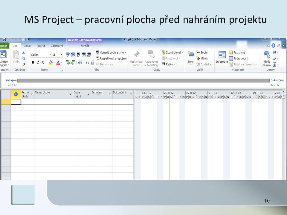 MS Project – pracovní plocha před nahráním projektu 10
