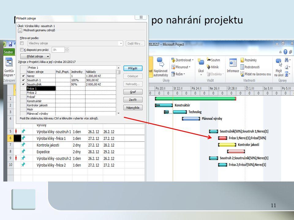 MS Project – pracovní plocha po nahrání projektu 11