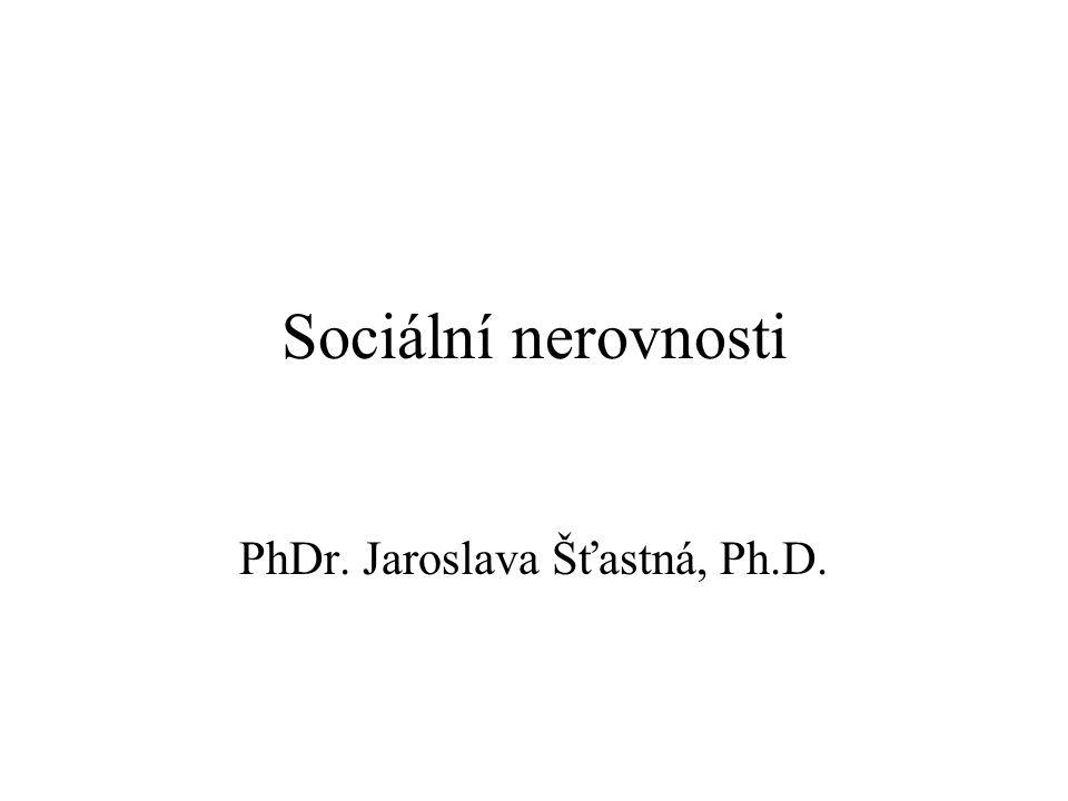 Sociální nerovnosti PhDr. Jaroslava Šťastná, Ph.D.