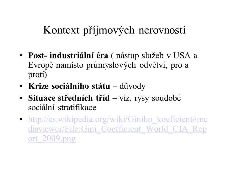 Kontext příjmových nerovností Post- industriální éra ( nástup služeb v USA a Evropě namísto průmyslových odvětví, pro a proti) Krize sociálního státu